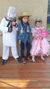 Sophie's children celebrating Purim in Israel