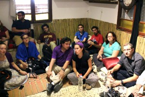 Rafi and Rachael with classmates during a coexistence tour in the north